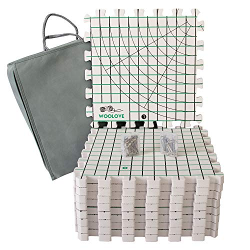- Extra Thick Blocking Mats for Wet and Steam Blocking with Grids and Radial Circles - Set of 9 Marked with Numbers Includes 100 t pins and Storage Bag