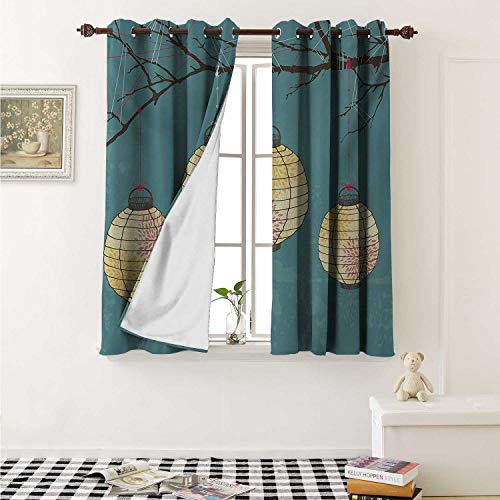 shenglv Lantern Drapes for Living Room Three Paper Lanterns Hanging on Branches Lighting Fixture Source Lamp Boho Curtains Kitchen Window W96 x L72 Inch Teal Pale Yellow