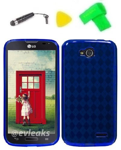 - TPU Gel Skin Phone Case Cover Cell Phone Accessory + Extreme Band + Stylus Pen + Yellow Pry Tool for LG Optimus L90 (TPU Blue)
