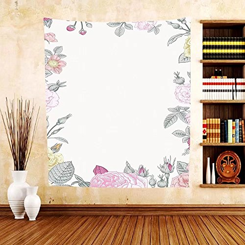 Gzhihine Custom tapestry Shabby Chic Decor Tapestry Garden of Wild Roses Framework Vintage Colorful Botanical Illustration for Bedroom Living Room Dorm (Wooven Wood)