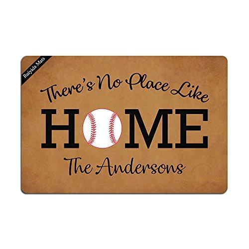 Ruiyida There's No Place Like Home Baseball Entrance Floor Mat Funny Doormat Door Mat Decorative Indoor Outdoor Doormat Non-woven 23.6 By 15.7 Inch Machine Washable Fabric Top -