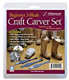 Flexcut Carving Tools, Beginner Craft Carver Set, 3 Carving Blades, Palm Handle and DVD Included (SK110)