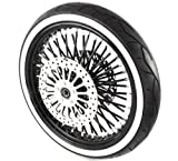 21 x3.5'' Black & Chrome Mammoth 48 Fat Spokes Front Wheel With WhiteWall Metzeler Tire Package for Harley-Davidson Dual Disc