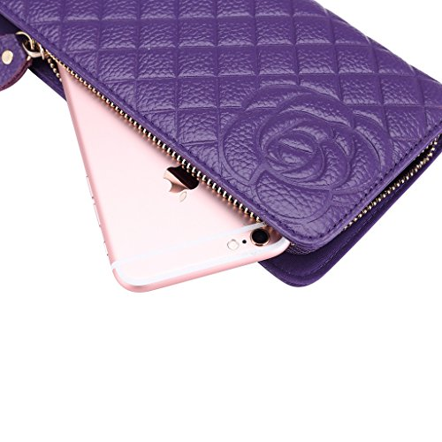 Realer Womens Genuine Leather Long Wallet Purple