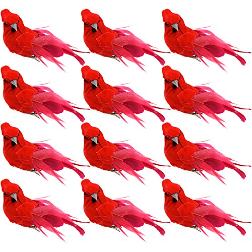 Gift Boutique Bright Red Artificial Christmas Cardinal Birds Clip on Tree Ornaments Pack of 12 Craft Decorations 5 -