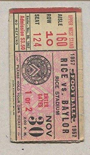 November 1957 Rice vs Baylor Football Upper West Stand Ticket Stub Rice Stadium
