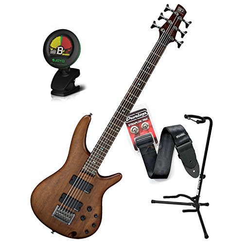 - Ibanez SRC6WNF 6 String Electric Bass Guitar Crossover Walnut Flat Finish w/ Stand, Tuner, Strap, and Straplocks