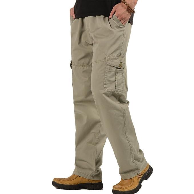 OCHENTA Men's Elastic Waist Relaxed Straight Leg Baggy Pull