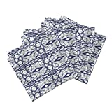 Roostery Tree Navy Mirror White Linen Cotton Dinner Napkins Ekko_Tree_Variation by Holli Zollinger Set of 4 Dinner Napkins