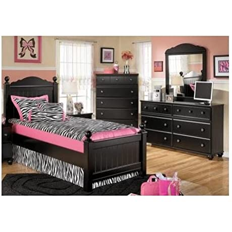 Ashley Jaidyn Twin Bedroom Set With Youth Poster Bed Dresser Mirror And Chest In