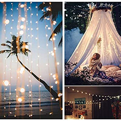 300 LED Curtain String Light,Fairy Lights with 4 Music Control 8 Lighting Modes,IP65 Waterproof Rope Lights for Wedding Party Home Garden Outdoor Indoor Christmas Decorations,9.8x9.8 Ft