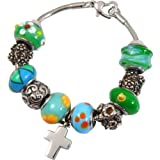 Memorial Gallery Eternal Green Remembrance Bead Pet Cross Urn Charm Bracelet, 8''