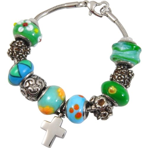 Memorial Gallery Eternal Green Remembrance Bead Pet Cross Urn Charm Bracelet, 8'' by Memorial Gallery