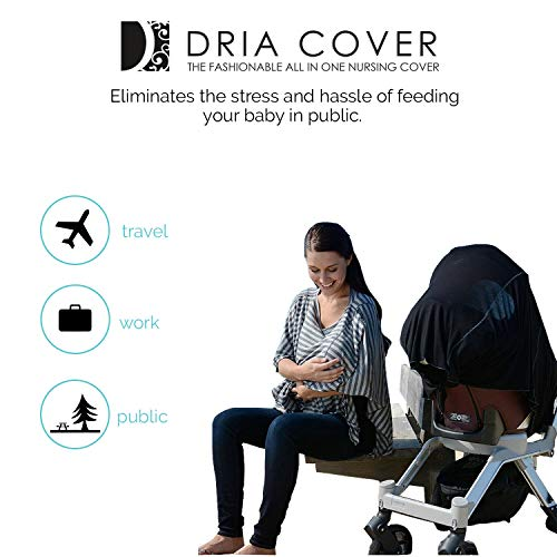 Fashionable Nursing Covers by DRIA - 'The All-In-One, Stroller Cover, Car Seat Cover' - Made in USA from Premium Four Way Stretch and Breathable Modal Fabric (Oslo Style: Grey Stripe) by DRIA Cover (Image #9)
