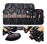LyDia UK STOCK Professional 24pcs Natural Wooden handle Black/brown Make Up Brush Set with Case
