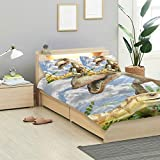 MALPLENA Animals Compsognathus Dinosaur Bedding Bag Soft and Silky Sateen Weave Kids Duvet Cover Set with 2 Pillow Cases Twin Size Cover 3 Pieces Bedding Set