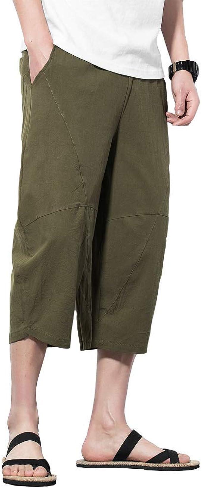 Esast Men Casual Capri Pants Shorts Drawstring Harem Baggy Jogging Trousers