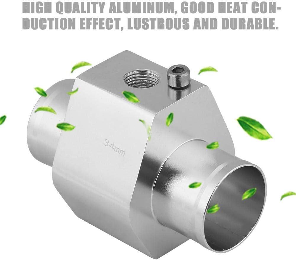 Keenso Silver Water Temp Sensor Gauge Radiator Hose Adapter Aluminum Water Temp Joint Pipe Radiator Sensor w//Clamps Water Temperature Temp Sensor Adapter 38mm