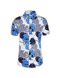 Turn Down Collar Shirts for Men,Fashion Slim Loose Hawaii Short Sleeve Tops Printed T-Shirt