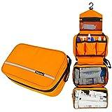 Kaimao Waterproof Nylon Hanging Toiletry Bag / Cosmetic Bag / Bathroom Storage with Hook and Handle for Toiletries---Orange