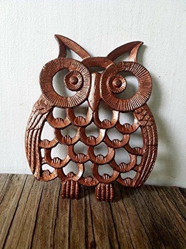 Copper Finish Cast Iron Owl Kitchen Trivet – Rustic Vintage Woodland Animal Decor – Unique Housewarming Gift