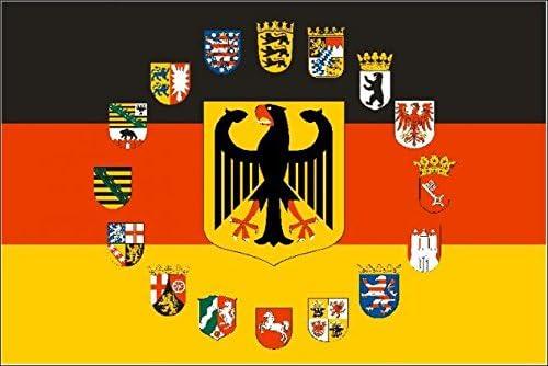 U24 Bandera de Alemania Águila con 16 cintura Países Escudo 90 x 150 cm: Amazon.es: Jardín