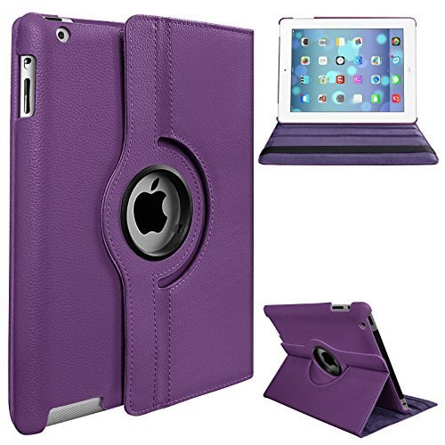 Apple iPad 2/3/4 Case - 360 Degree Rotating Stand Smart Case Cover for iPad with Retina Display (iPad 4th Generation), (iPad 2/3/4 only)Purple