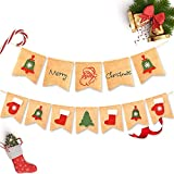 Merry Christmas Decoration Banner Burlap - Home Xmas Holiday Decoration for Mantel Fireplace Hanging Decor indoor outdoor