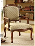 Hand-Carved Wood Accent Arm Chair with Antique Oak Finish