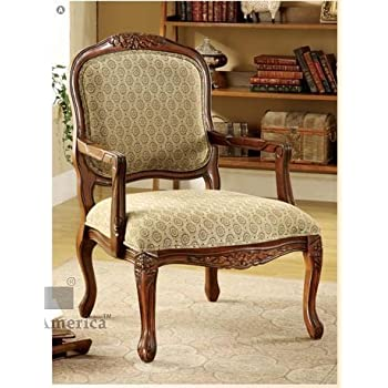 Attrayant Hand Carved Wood Accent Arm Chair With Antique Oak Finish