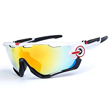 81315c5c31 Cycling Sunglasses Polarized Mens Sport Glasses 4 Lens Cycling Glasses  Bicycle Glasses (White Black)