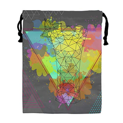Hipster Polygonal Cocktail Absinthe On Print Drawstring Bag for Kids Party Favors Supplies Backpack Gym