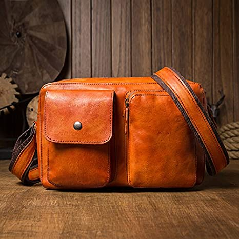 KEROUSIDEN Original Handmade Japanese and Korean Leather Messenger Bag Male Shoulder Bag Vegetable Tanned Leather Leisure Mens Cross-Section Leather Personalized Fashion 30 20 9CM