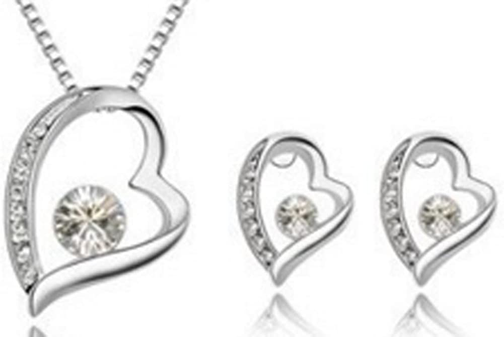 18K Platinum Plated Crystal Trendy Heart Crystal Jewelry Sets AmaranTeen