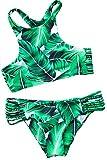 CUPSHE Women's Tropical Leaves Printing Tank Padding Bikini Set Medium...