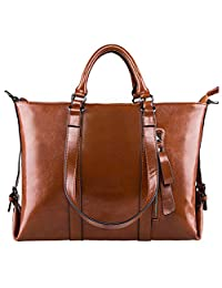 S-ZONE 3-Way Women's Genuine Leather Shoulder Tote Bag Handbag (Brown)
