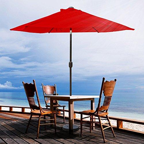 VINGLI 9-Feet Outdoor Patio Umbrella Aluminum Backyard Market Table Umbrella (Red 6 Ribs) Review