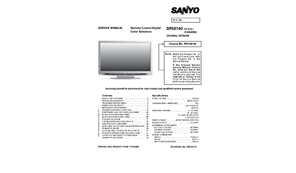sanyo dp50740 service manual sanyo amazon com books rh amazon com Sanyo DP50740 Main Board Sanyo DP50740 Y and Z