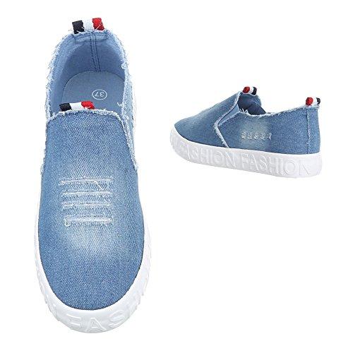 Damen Halbschuhe Schuhe Slipper Loafer Hellblau 40 Lwu61Dj