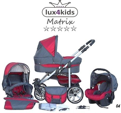 Chilly Kids Matrix II Kinderwagen Komplettset (Autositz & Adapter, Regenschutz, Moskitonetz, Schwenkräder) 04 Rot & Grafit