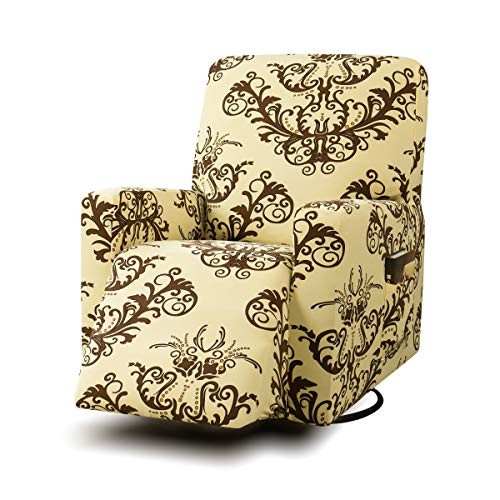 TIKAMI Stretch Printed Recliner Chair Covers Printed Floral Sofa Slipcovers Washable Furniture Protector with Pocket for Pets and Kids(Coffee Print) (Slipcover Floral Furniture)