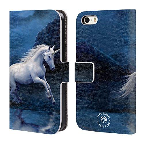 Officiel Anne Stokes Licorne de Clair de lune Créatures Mythiques Étui Coque De Livre En Cuir Pour Apple iPhone 5 / 5s / SE