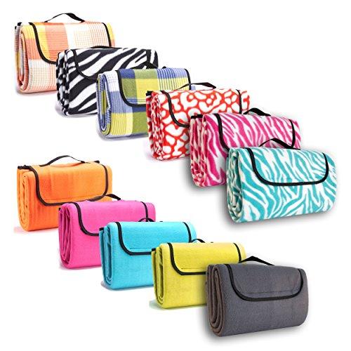 Picknick-Decke-130x150cm-Fleece-Campingdecke-Stranddecke-Reisedecke-Strand-Matte-Wasserabweisend-verschiedene-Designs-Zebra-Muster