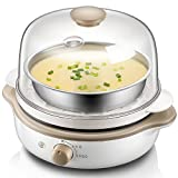 Egg cooker for 7 eggs, electronic control, stainless steel design, 400 W 206.5 170 230 , White