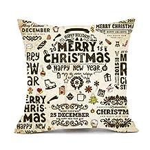 Christmas Pillows Cover, Elogoog Pillowcase Christmas Decor Cotton Throw Cushion Case Sofa Waist Bed Square 18 x 18 (18 x 18 Inches, D)