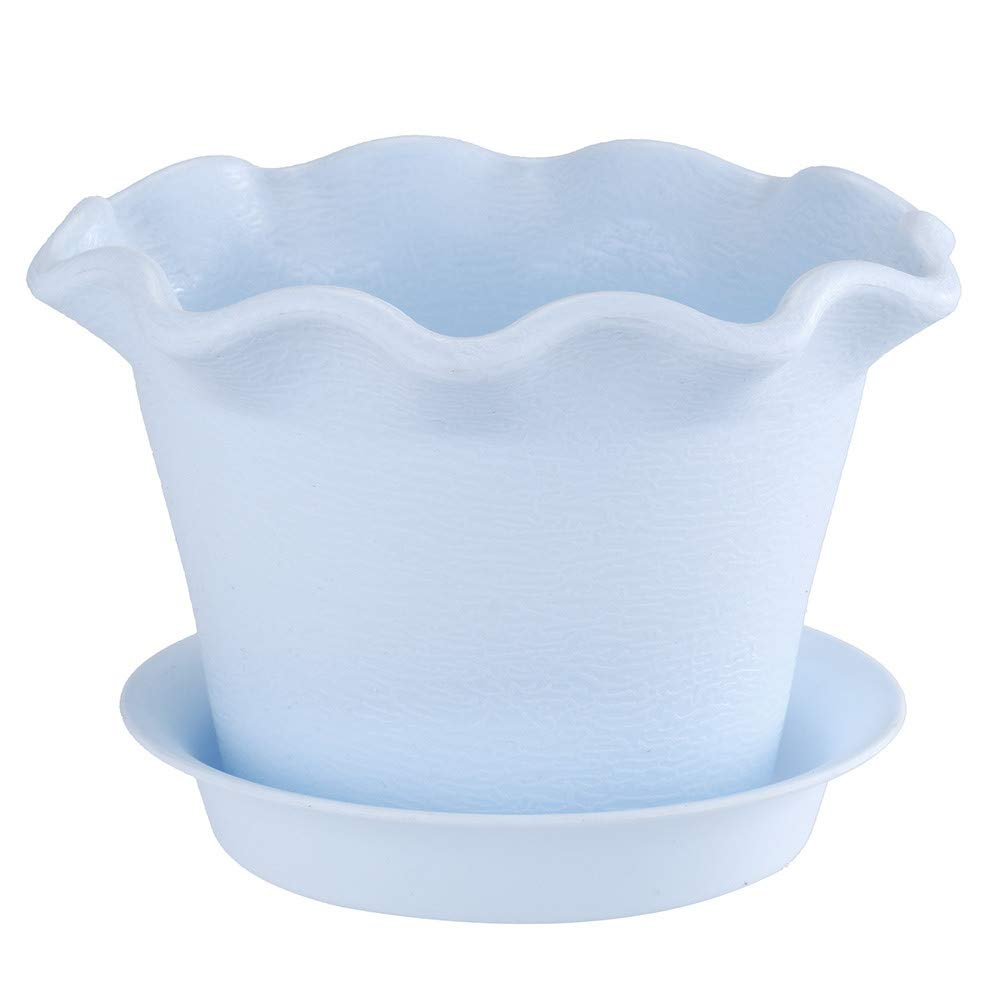 Freeby Wave/Lotus Shape Edge Resin Flower Plant Pot with Saucer for Indoor Outdoor Container Gardening (Mulitcolor, B)