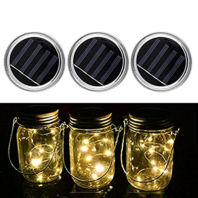 3 Pack - Mason Jar Lights with solar , LED Warm White Solar Fairy Lights, outdoor Solar String Lights of waterproof (Jars Not Included)