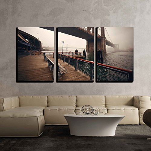 wall26 - 3 Piece Canvas Wall Art - Brooklyn Bridge in a Foggy Day in Downtown Manhattan - Modern Home Decor Stretched and Framed Ready to Hang - 16