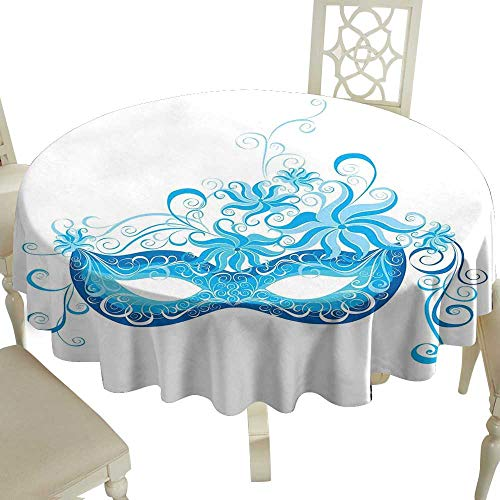 Cranekey Round Outdoor Round Tablecloth 65 Inch Masquerade,Venetian Style Mask Majestic Impersonating Enjoying Halloween Night Theme,Blue and Sky Blue Great for,Holiday Dinner & More