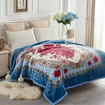 JYK Heavy Korean Mink Fleece Blanket - 2 Ply Reversible 520GSM Silky Soft Plush Warm Blanket for Autumn Winter (Queen, Flower/Light Blue)